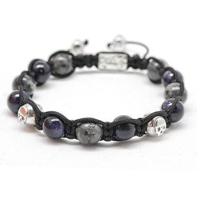 le modèle NORWEGIAN NIGHT orné de pierres de sable bleues, Larvikite et de perles Skull Flibustier en argent. 124,17€